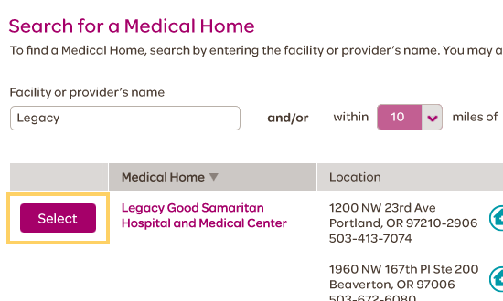 Select the Medical Home